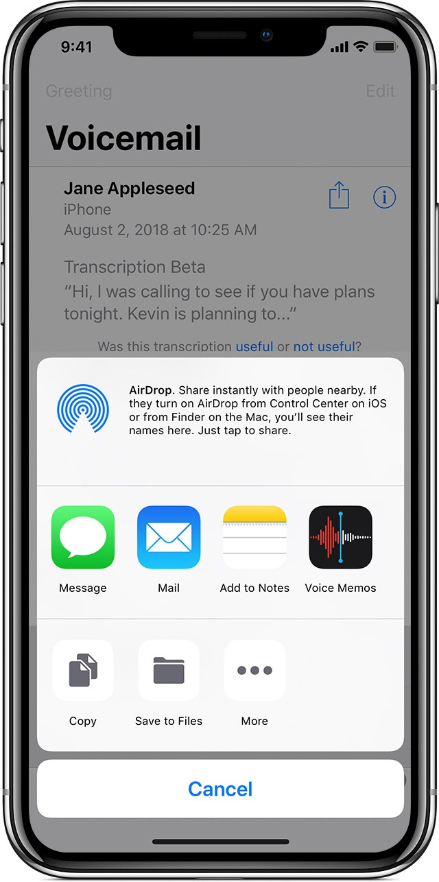 ios12 iphone x phone voicemail share